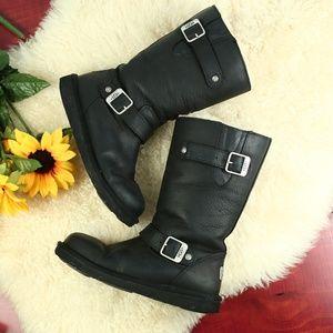 Ugg Kensington Black Leather Moto Boots